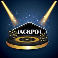 Casino jackpot gambling online game with creative roulette wheel vector