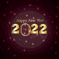 Tarjeta de felicitación de celebración de feliz año nuevo con efecto de texto dorado sobre fondo creativo vector