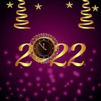 Golden text effect of 2022, happy new year invitation greeting card vector