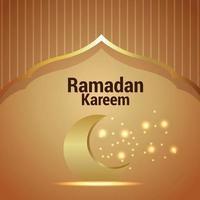 Ramadan kareem invitation greeting card with gold moon and lantern on pattern background vector
