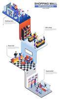 Shopping mall modern 3d isometric infographics design template vector