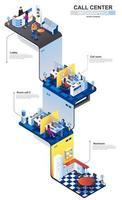 Call center modern 3d isometric infographics design template vector