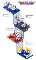 Marketing agency modern 3d isometric infographics design template vector