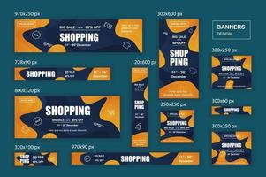 Collection web banners different sizes for mobile and social networks poster shopping ads and marketing material vector