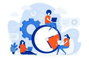 Time management web concept design with people vector
