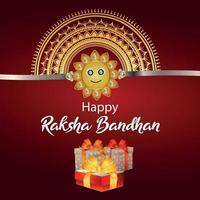 Happy raksha bandhan celebration greeting card with gifts vector