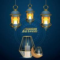 Islamic festival of ramadan kareem celebration greeting card with vector illustration of gold moon and lanterns