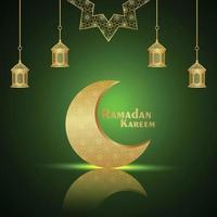 Ramadan kareem islamic festival celebration greeting card with creative golden moon and lantern vector