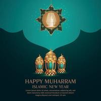 Happy muharram celebration greeting card with gold lanterns on pattern background vector
