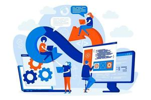 DevOps engineers web design with people vector