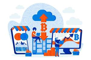 Cryptocurrency marketplace design with people vector