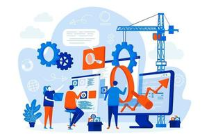 seo optimizacion diseño web con personas vector