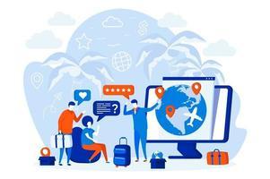 Diseño web de agencia de viajes con personajes de personas. vector