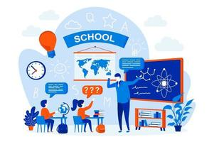 School learning web design concept with people vector