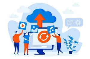 Cloud storage web concept with people characters vector