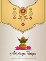 Akshaya tritiya indian festival sale promotion with creative golden necklace and earrings vector