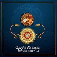 Raksha bandhan celebration greeting card with rakhi crystal on blue background vector