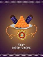 Indian festival happy raksha bandhan flyer with crystal rakhi vector