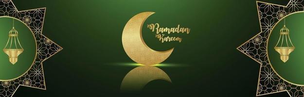 Banner o encabezado de Ramadán Kareem con luna dorada y linterna sobre fondo verde vector