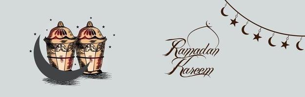 Hand draw invitation banner of ramadan kareem vector
