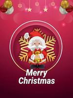 cartel de fiesta de invitación de feliz navidad con santa claus vector