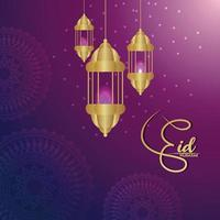 Realistic vector illustration of ramadan kareem celebration greeting card with golden lanterns