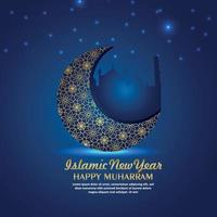 Islamic new year, happy muharram with pattern moon on blue background vector