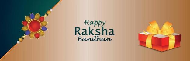 Happy raksha bandhan creative vector gifts and crystal rakhi