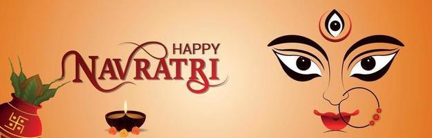 Happy navratri indian festival celebration banner with illustration of Goddess Durga vector