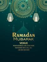 Ramadán kareem patrón de fondo con linternas vector