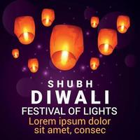 Shubh diwali celebration card with realistic diwali lamp on purple background vector
