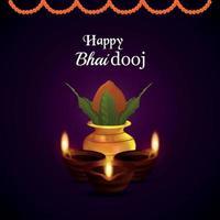 feliz bhai dooj, tarjeta de felicitación de celebración del festival indio vector