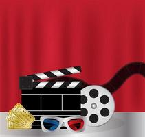 Movie Film 3d Glasses and movie ticket vector