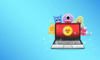 Virus computer destroying laptop vector
