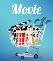 Movie Film, 3d Glasses and movie ticket in a shopping cart vector