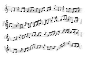 notas musicales aleatorias de muestra flotante vector
