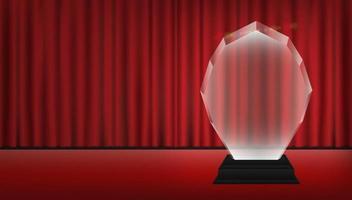 Trofeo de acrílico con fondo de escenario de cortina roja vector
