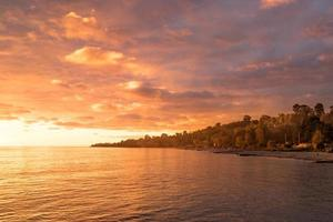 urban landscape of New Athos in Abkhazia at sunset photo