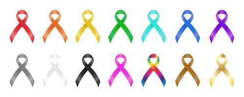 Colorful awareness ribbons vector