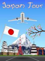 japan spring season flight travel with landmarks vector