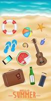 men's beach travel objects on a sea sand beach vector