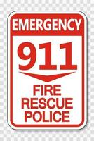 911 Fire Rescue Police Sign on transparent background vector
