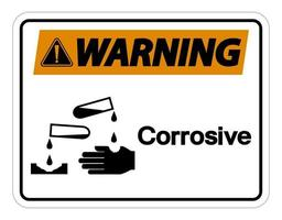 Advertencia signo símbolo corrosivo sobre fondo blanco. vector