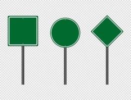 Green traffic sign Road board sign vector