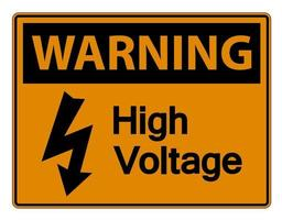 Warning high voltage sign on white background vector