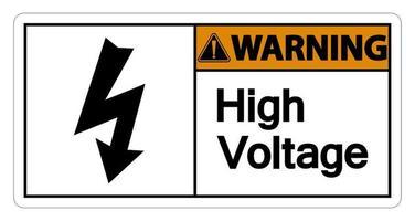 Señal de advertencia de alto voltaje sobre fondo blanco. vector