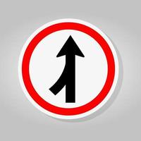Merge Join Way Left Traffic Road Sign vector