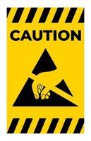 Precaución dispositivo sensible a la electrostática símbolo esd signo vector