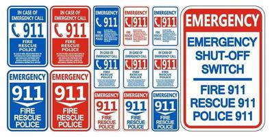 911 Fire Rescue Police Symbol Sign vector