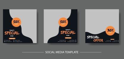 Food Social Media Post Template Bundle vector